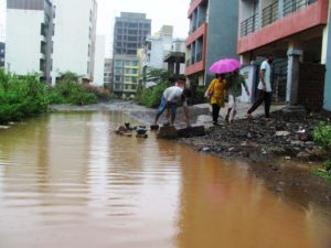 Life Threats in Ulwe: Monsoon and Open Manholes. Green Society Forum demarking Threatening Spots